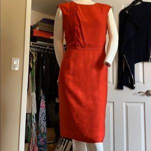 Red Orange Textured Silk Pencil Dress Size 6 NWOT